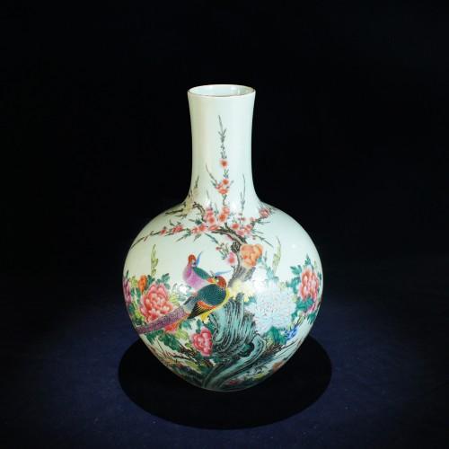 景德鎮-王金龍 吉祥富貴天球瓶